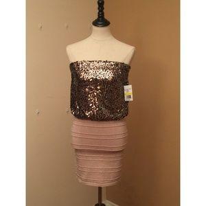 NWT! As U Wish Sequined Strapless Mini Dress